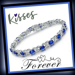 3.14CT Blue & White Sapphire 925 tennis bracelet